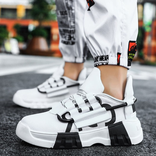 White & Black Retro Sneakers - Trendo Chic