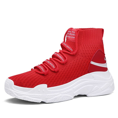 Red Sock-Style High-Top Unisex Sneakers - Trendo Chic