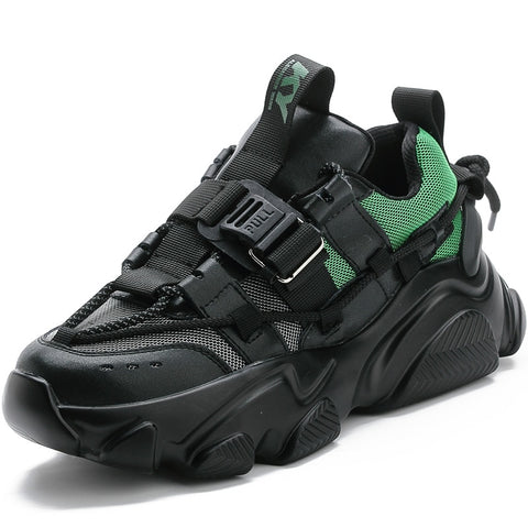 Black & Green Chunky Sneakers for Women - Trendo Chic