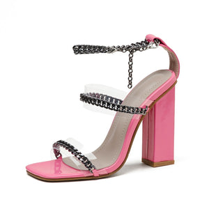 Pink Chain Detail Block Heel Sandals - Trendo Chic