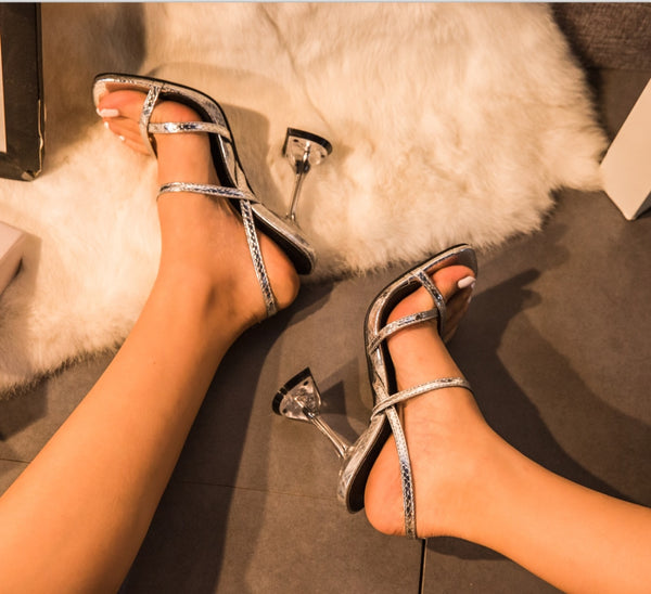 Silver Slingback Heels - Trendo Chic
