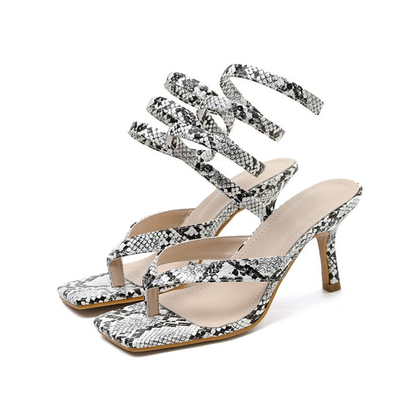 Snake Print Square Toe Sandals - Trendo Chic