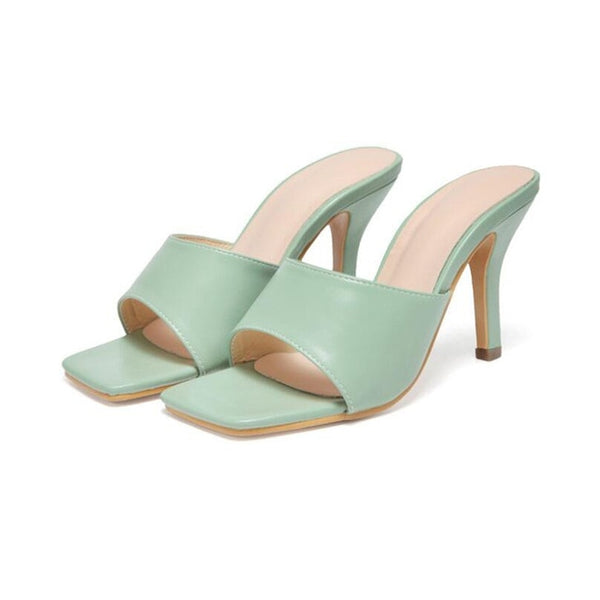 Green Square Toe High Heels - Trendo Chic