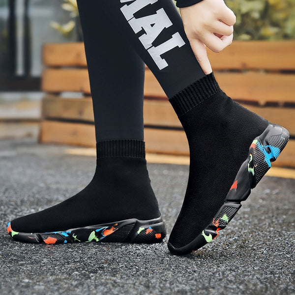 Black & Colored Sole Sock-Style Sneakers for Women- Trendo Chic