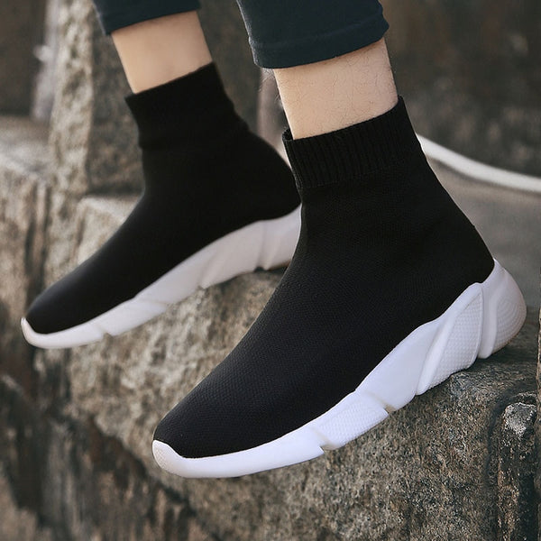 Black and White Sock-Style Sneakers - Trendo Chic