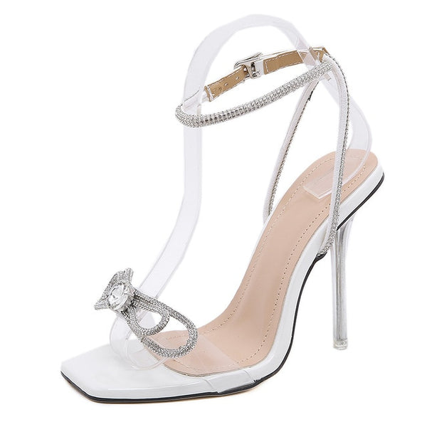 White Diamante Bowtie Sandals - Trendo Chic
