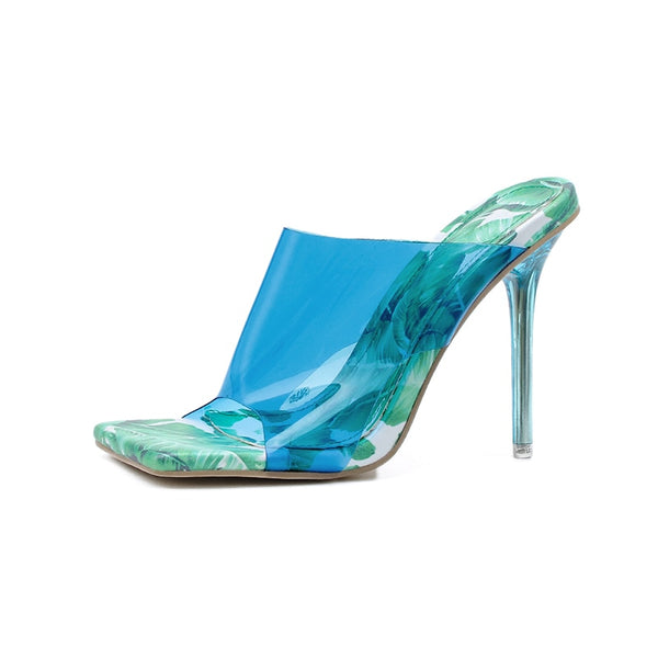 Blue Perspex Heels Floral Sandals - Trendo Chic