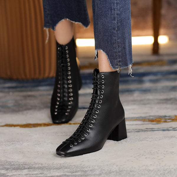 Square Toe Ankle Boots - Trendo chic