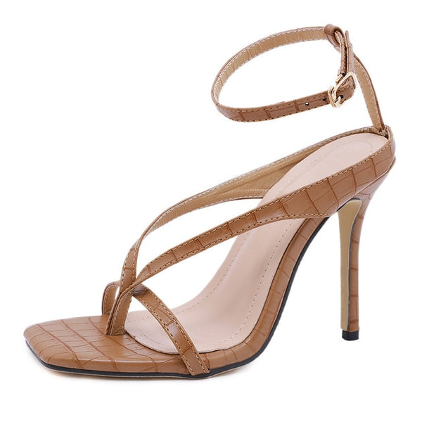 Brown Cross Straps Stiletto Sandals - Trendo Chic