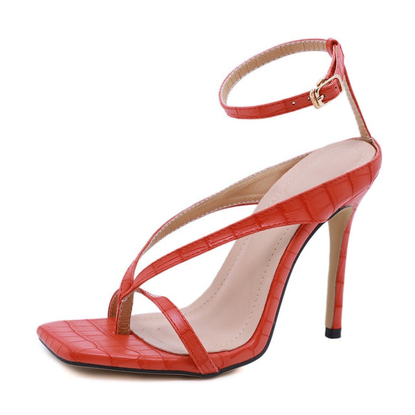 Red Cross Straps Stiletto Sandals - Trendo Chic