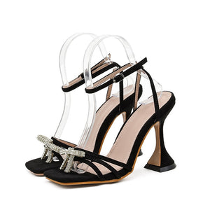 Black Diamante Bowtie Sandals - Trendo Chic