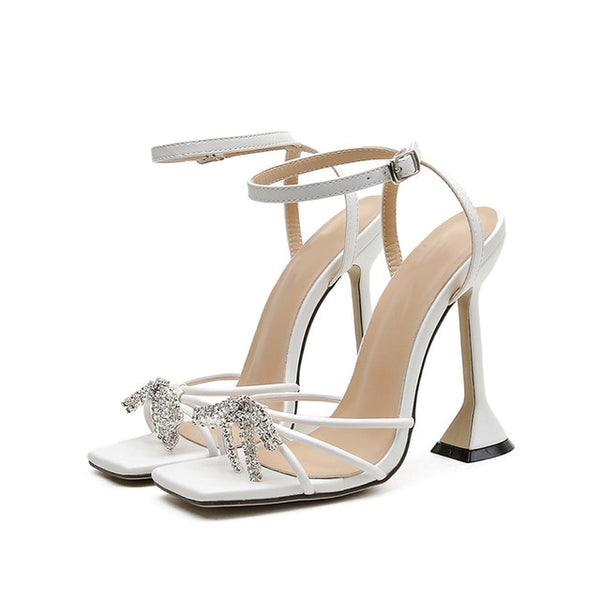 White Buckle Strap Pyramid Heel Sandals - Trendo Chic