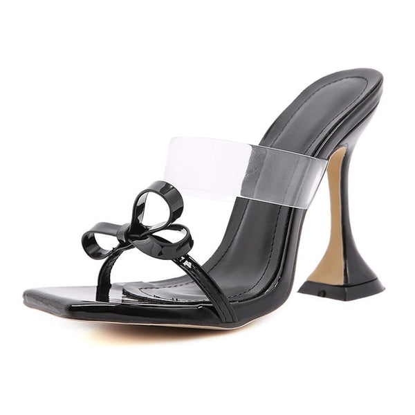 Black Pyramid Heel Sandals - Trendo Chic