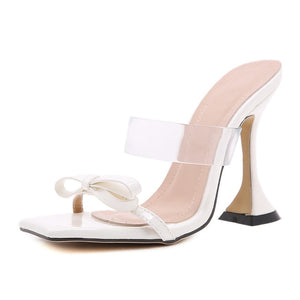 White Pyramid Heel Sandals - Trendo Chic