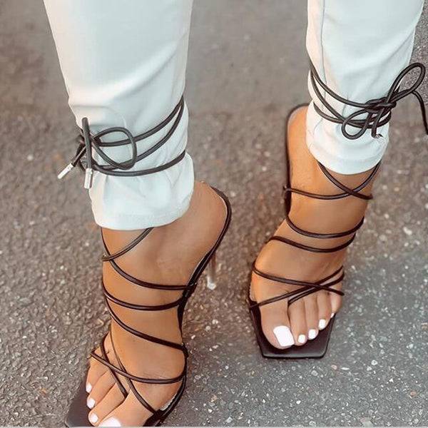 Black Strappy High Heel Sandals - Trendo Chic