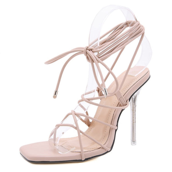 Beige Strappy High Heel Sandals - Trendo Chic