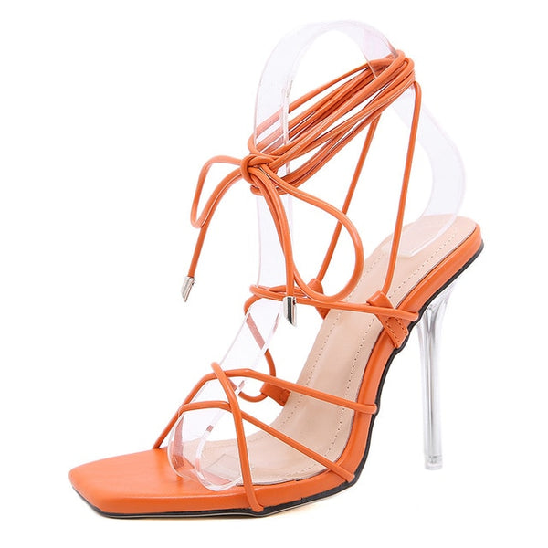 Orange Strappy High Heel Sandals - Trendo Chic