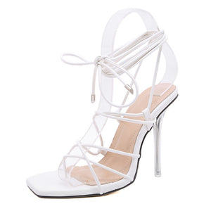White Strappy High Heel Sandals - Trendo Chic