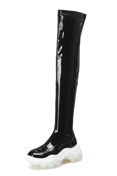 Black Long Platform Boots - Trendo Chic
