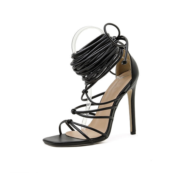 Black Strappy Sandals - Trendo ChicLace-up Sandals- Trendo Chic