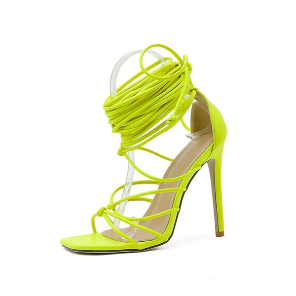 Yellow Lace-up Sandals- Trendo Chic