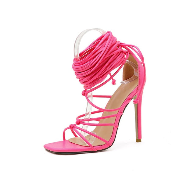 Pink Lace-up Sandals- Trendo Chic
