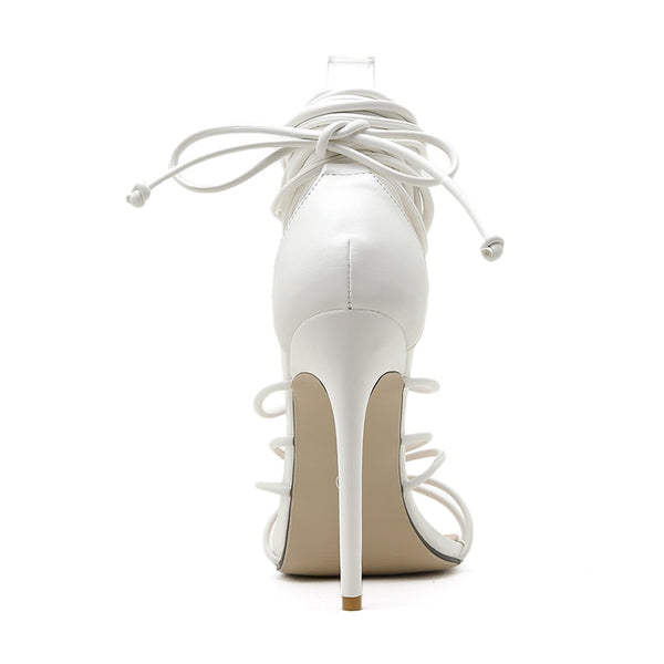 White Lace-up Sandals- Trendo Chic
