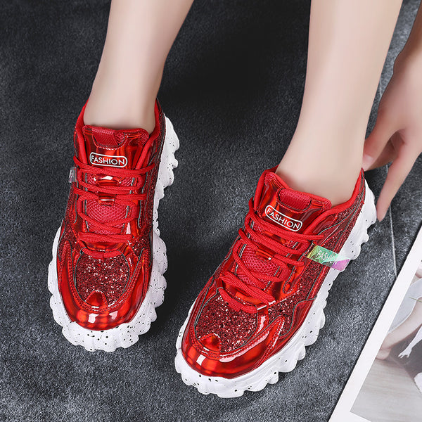 Red Chunky Sneakers for Women - Trendo Chic