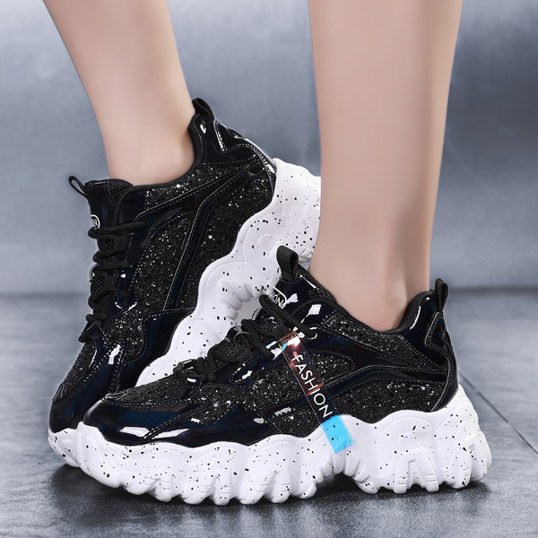 Black & White Chunky Sneakers for Women - Trendo Chic