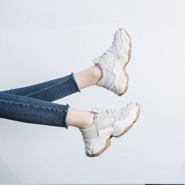 Gray Chunky Sneakers for Women - Trendo Chic
