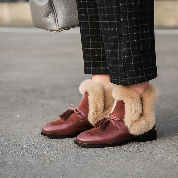 Brown Furry Ankle Boots - Trendo Chic