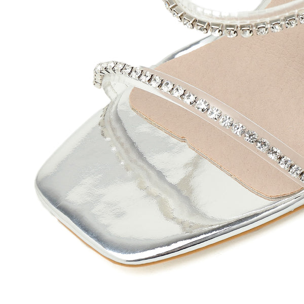 Silver Diamante Pyramid heel Sandals - Trendo Chic