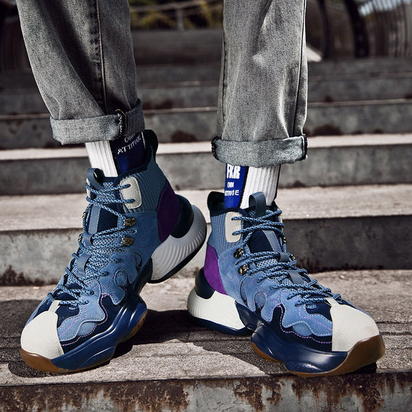 Blue Sock-Style High-Top Sneakers - Trendo Chic