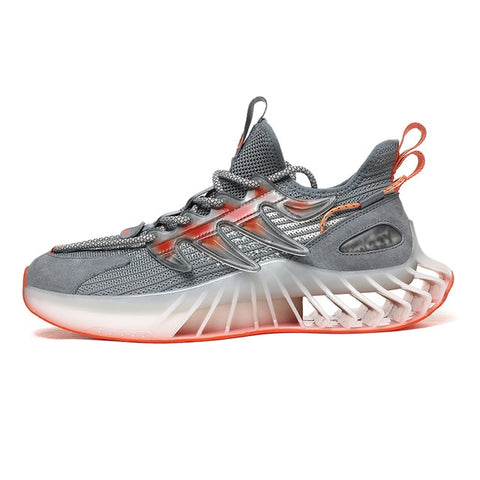 Gray & Orange Chunky Sneakers for Men - Trendo Chic