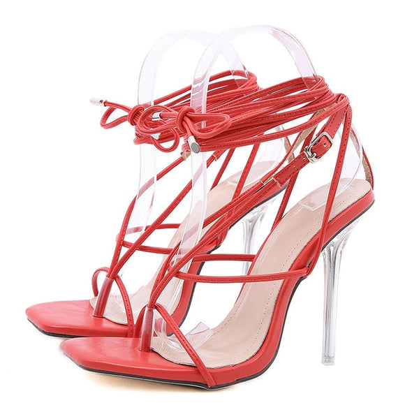 Red Lace-up Sandals - Trendo Chic