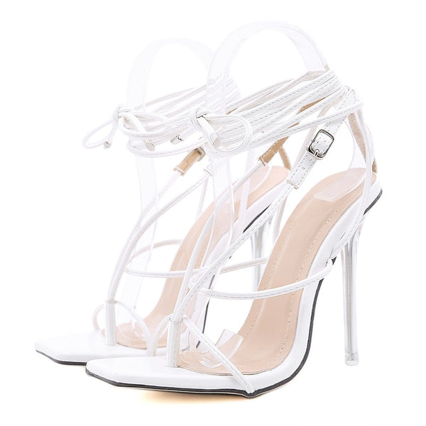 White Lace-up Sandals - Trendo Chic