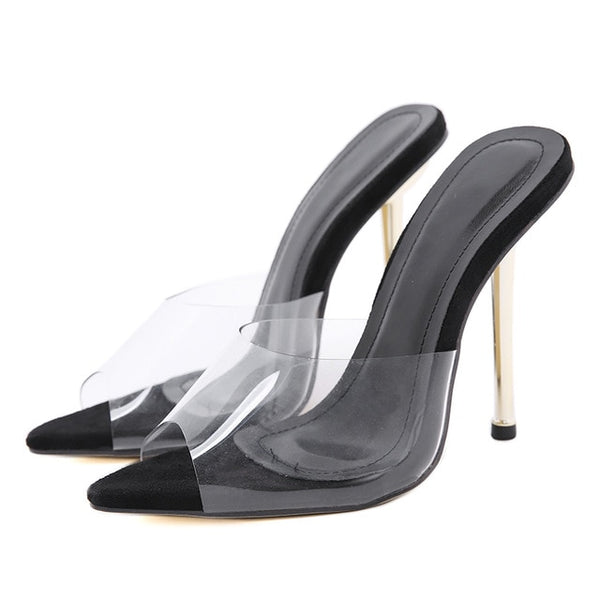Black Transparent Pointed Toe Heels - Trendo Chic