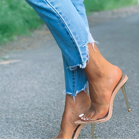 Beige Transparent Pointed Toe Heels - Trendo Chic