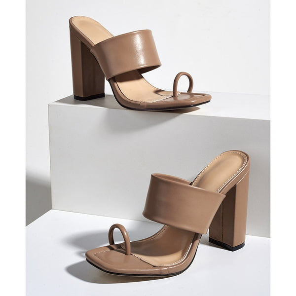 Brown Toe Ring Block Heel Sandals - Trendo Chic