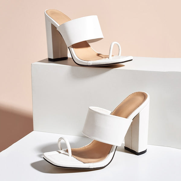 White Toe Ring Block Heel Sandals - Trendo Chic