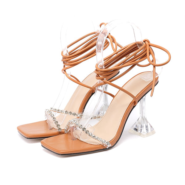 Light Brown Diamante Lace-up Sandals - Trendo Chic