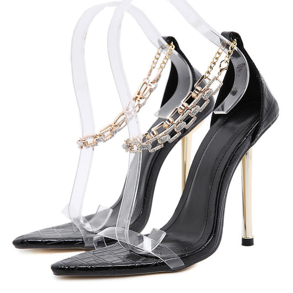 Metal Heels Pointed Toe Sandals - Trendo Chic