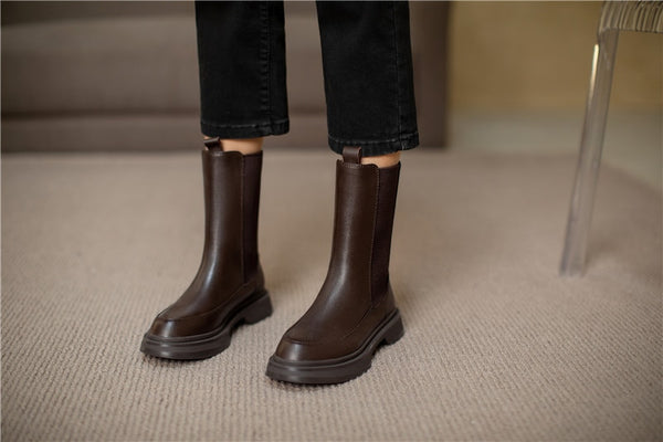 Brown Mid-Calf Boots - Trendo Chic