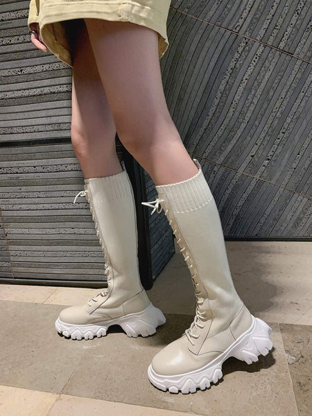 Beige Knee-High Boots - Trendo Chic