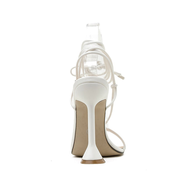 White Pyramid Heel Lace-up Sandals - Trendo Chic