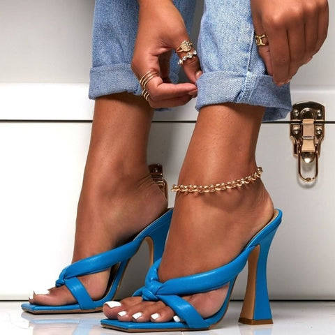 Blue Square Toe Heeled Sandals - Trendo Chic