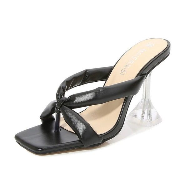 Cross Black Strap Pyramid heel Sandals - Trendo Chic