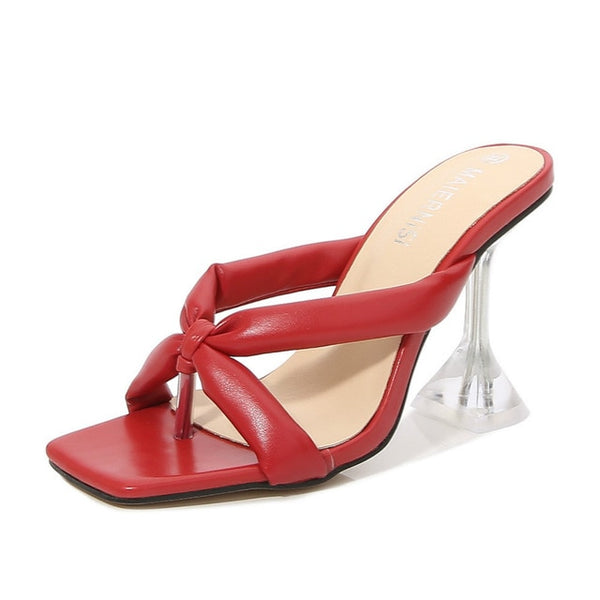 Red Cross Strap Pyramid heel Sandals - Trendo Chic