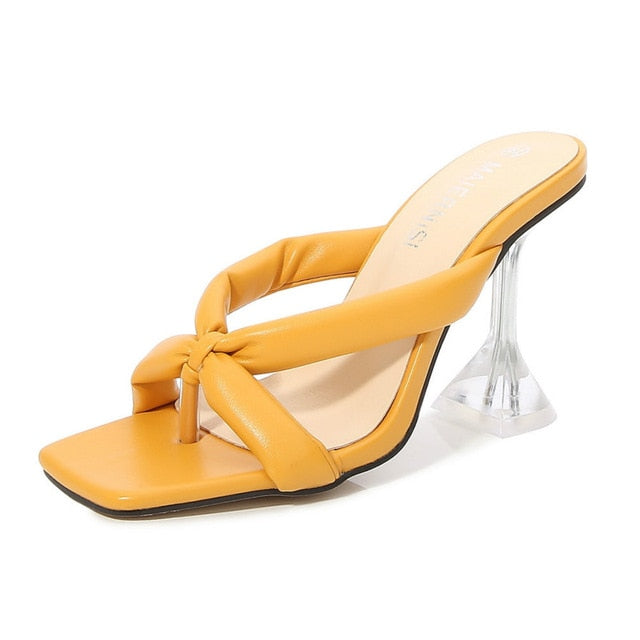 Yellow Cross Strap Pyramid heel Sandals - Trendo Chic