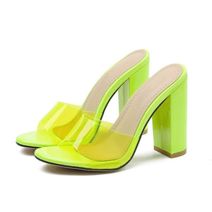 Green Block Heels Sandals - Trendo Chic